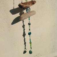 Driftwood and glass bead suncatcher mobile