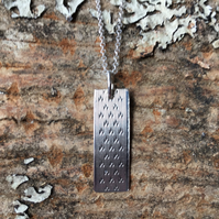 Rectangular, silver, engine turned pattern necklace