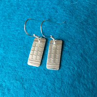 Oblong, silver, engine turned pattern earrings