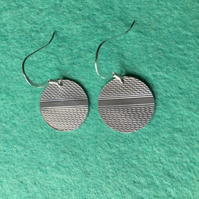 Disc earrings made from a 1938 Birmingham silver cigarette case