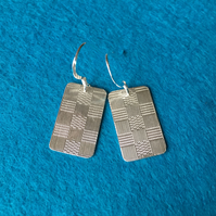 Oblong checkerboard silver earrings