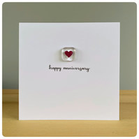 Happy anniversary card with fused glass tile with copper heart inclusion
