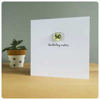 Happy 50th Birthday card with fused glass tile in pea green