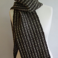 Natural Brown and White Wool Scarf
