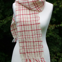 White and Red Wool Scarf