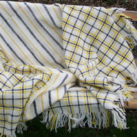 Wool Blanket Woven in White, Black and yellow