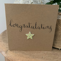 Congratulations card. Button card. Handmade card. Calligraphy card.