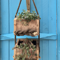 Hanging Plant or Herb planter, Personalised, Solid wood, indoor or outdoor use