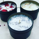 Eco Soy wax candles, Rose, Lavender, Jasmine, Real Petals, Vegan