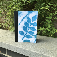 Handbound notebook with hand printed cover 8.5 x 6 inches 96 sheets plain paper