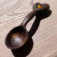 Hand Carved Walnut Spoon with Amber Sea Glass Insert