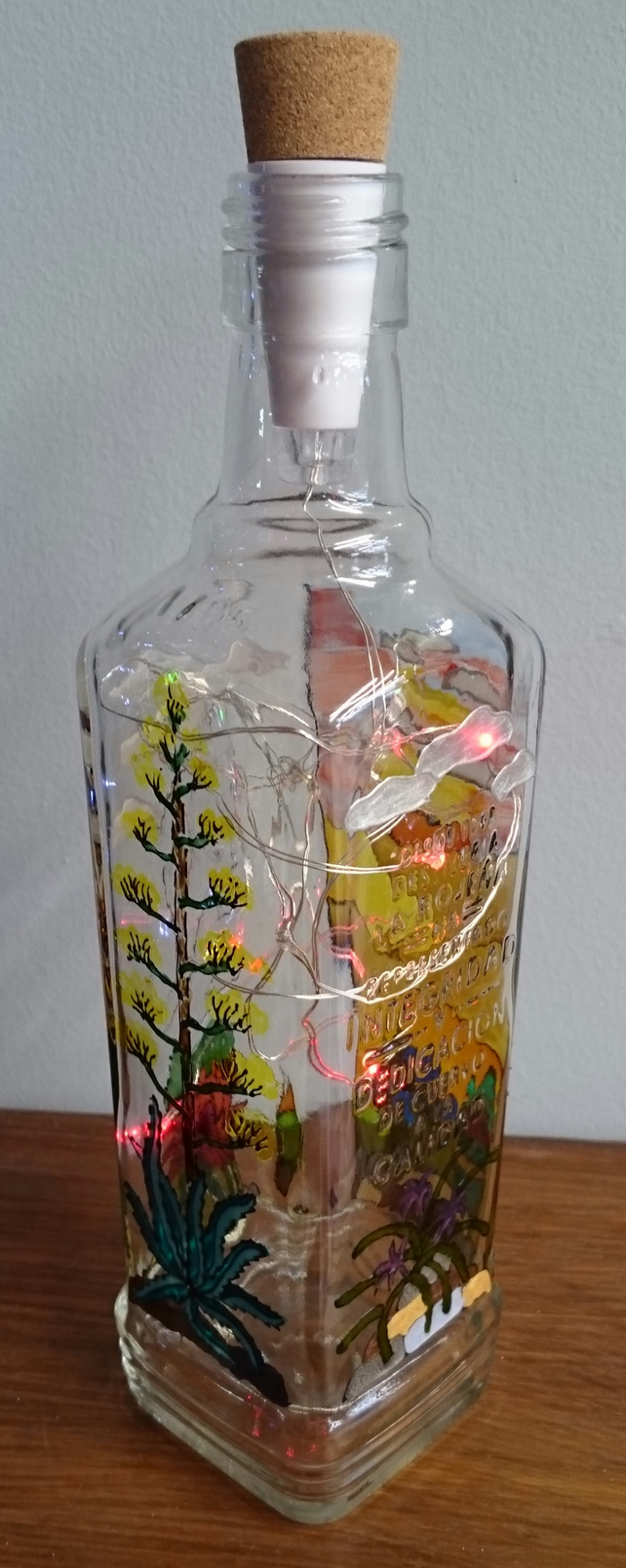 Tequila Sunrise - Handpainted Bottle Light