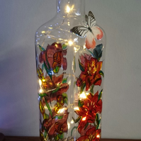 Dreaming of Lilies - Handpainted Bottle Lamp
