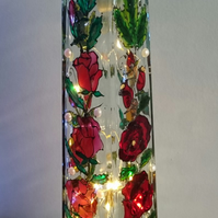Roses and Pearls - Handpainted Bottle Lamp