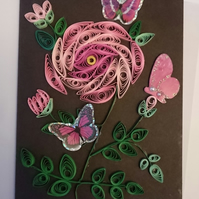 Rose Quilled Card A6