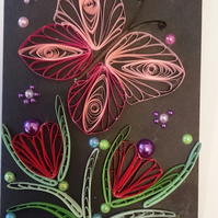 Butterfly Quilled Card A6