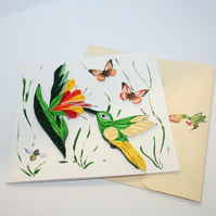 Humming Bird & Blossom Quilled Card