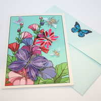 Hollyhock and Butterfly Quilled Card A6