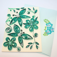 Abstract Butterfly Quilled Card A6
