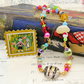 Glass Beaded Wrap Bracelet or Necklace with Postage Stamp Pin - Hansel & Gretel