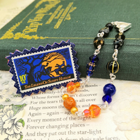 Glass Beaded Bracelet with Vintage Postage Stamp Pin – Sleepy Hollow
