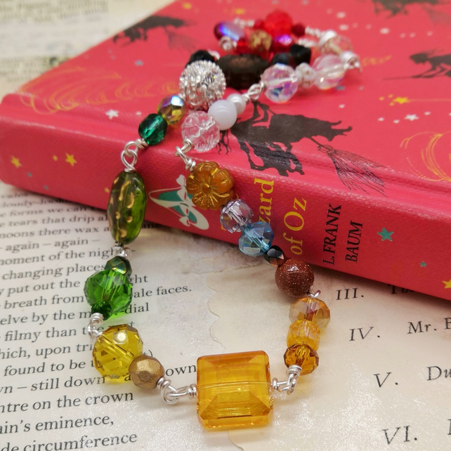Glass Beaded Wrap Bracelet or Short Necklace - Wizard of Oz