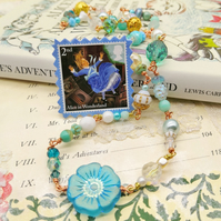 Glass Beaded Wrap Bracelet or Necklace with Postage Stamp Pin - Alice