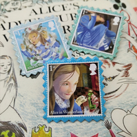 Postage Stamp Pins - set of 3 - Alice in Wonderland