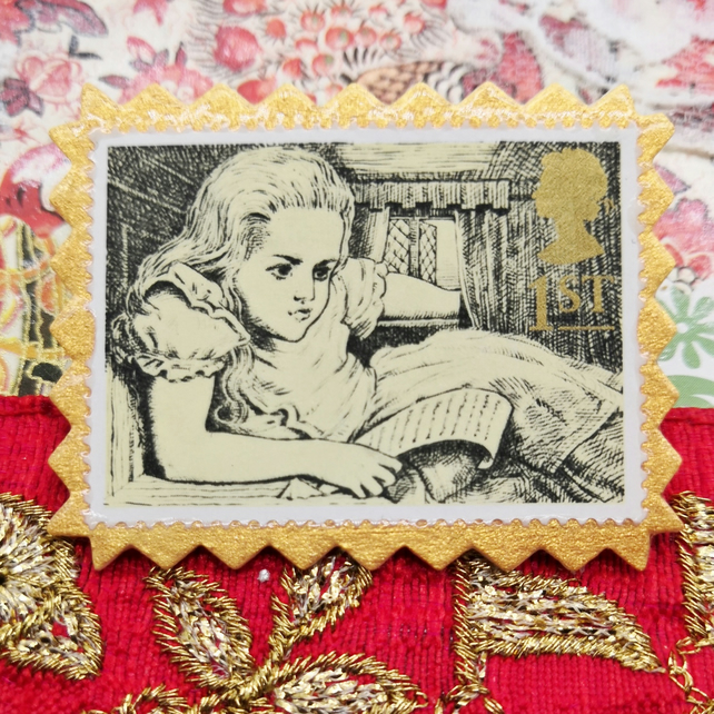 Postage Stamp Pin - Alice in Wonderland