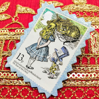 Vintage Postage Stamp Pin - Alice in Wonderland
