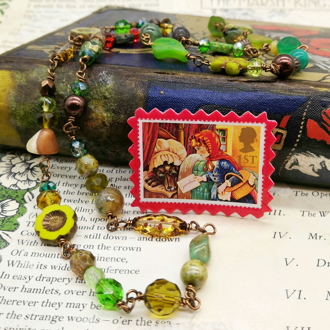 Glass Beaded Necklace with Postage Stamp Pin – Little Red Riding Hood
