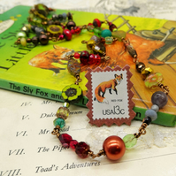 Glass Beaded Necklace with Postage Stamp Pin – Sly Fox & Little Red Hen
