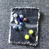 Denim Fabric Textile Brooch