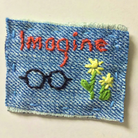 Denim Textile Embroidered Brooch