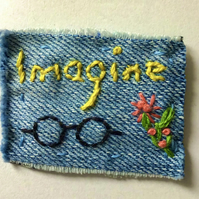 Denim Embroidered Brooch