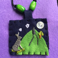 Felt Hare Pendant Necklace