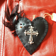 Leather Heart Crucifix Brooch Pin
