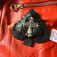 Leather Ace Of Spades Brooch Pin