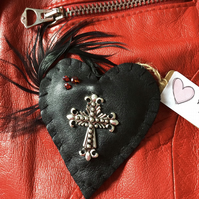 Leather Statement Heart  Brooch