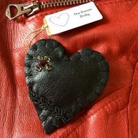 Black Leather Heart Brooch Pin