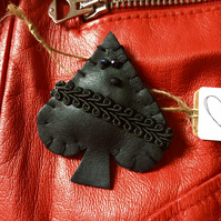 Leather Ace Of Spades Brooch
