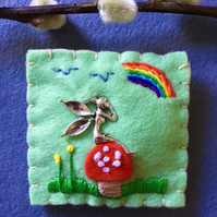 Felt Fairy Toadstool Brooch
