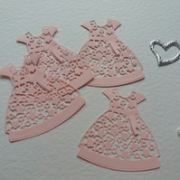 Tattered Lace Floral Dress Card Craft x 4 Pink Die-cut Toppers Embellishments
