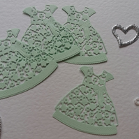 Tattered Lace Floral Dress Card Craft x 4 Mint Green Die-cut Toppers