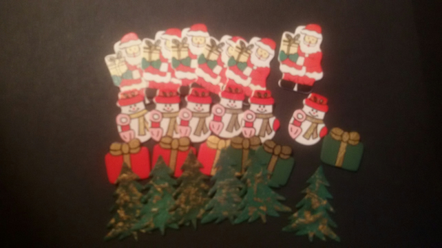 Christmas Craft Snowman Santa Present Christmas Tree Embellishments CHE06