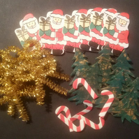 Christmas Craft Santa Christmas Tree Tinsel Bow Candy Cane Embellishments CHE07