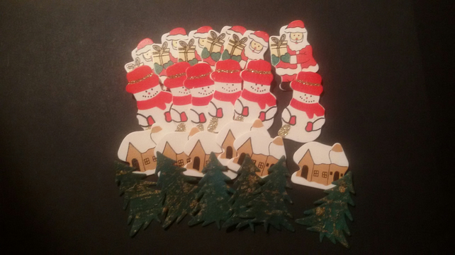 Christmas Craft Santa Christmas Tree Snowman Cottage Embellishments CHE05