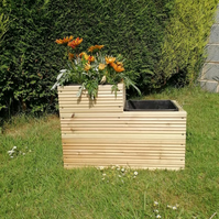 Handmade double wooden decking planter with pots