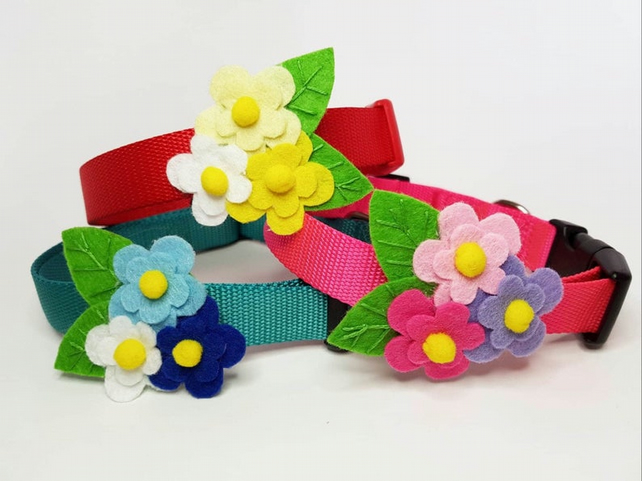 Posy of Flowers Dog Collar Accessory