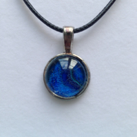 Blue and green circular resin pendant necklace